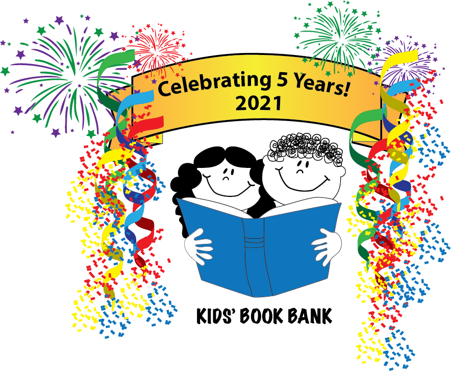 Cleveland Kids' Book Bank 5th Year logo with streamers and fireworks